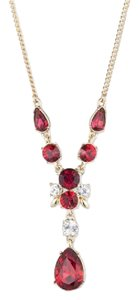 Givenchy Swarovski elements Gold-Tone Red Y-Necklace