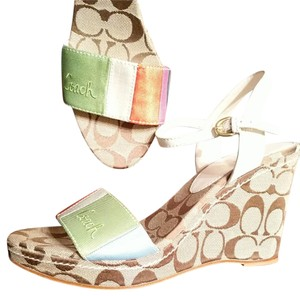 Coach Size 9.5 Colorful New Multi with brown monogram Wedges