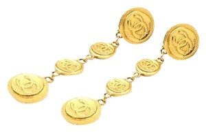 Chanel Vintage Gold Plated CC Medallion Dangle Earrings