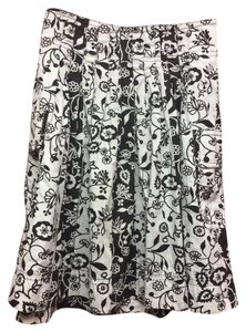 Ann Taylor LOFT A-line Floral Skirt Brown/White