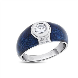 Hidalgo Genuine Hidalgo Solitaire Diamond Ring Blue Enamel Design 18k White