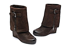 Prada Traction Chocolate Brown Distressed Dark Brown Boots