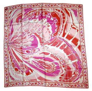 Emilio Pucci Butterfly 100% Silk Iconic Large Pink Print Scarf Italy
