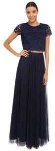 Donna Morgan Navy Amelia Two Piece Cap Sleeve Lace Top With Tulle Skirt Nwt Dress