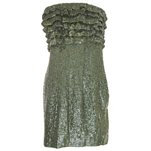 Free People Strapless Ruffled Sequin Party Dress