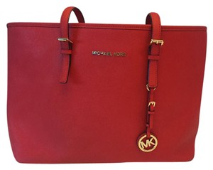 Michael Kors Red Saffiano Jet Set Tote in Bright Red