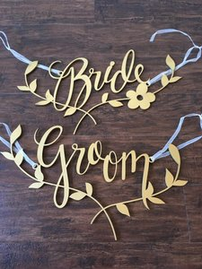 Gold Bride And Groom Chair Signs