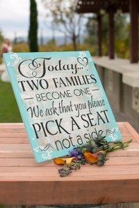 Pick A Seat Not A Side Wedding Ceremony Sign