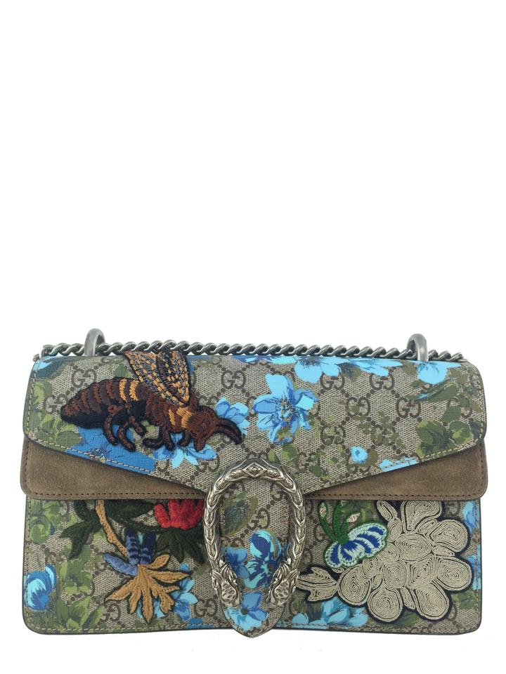 cae0d8c2df0 Gucci Dionysus Painted Flowers and Patches Gg Supreme Small Brown ...