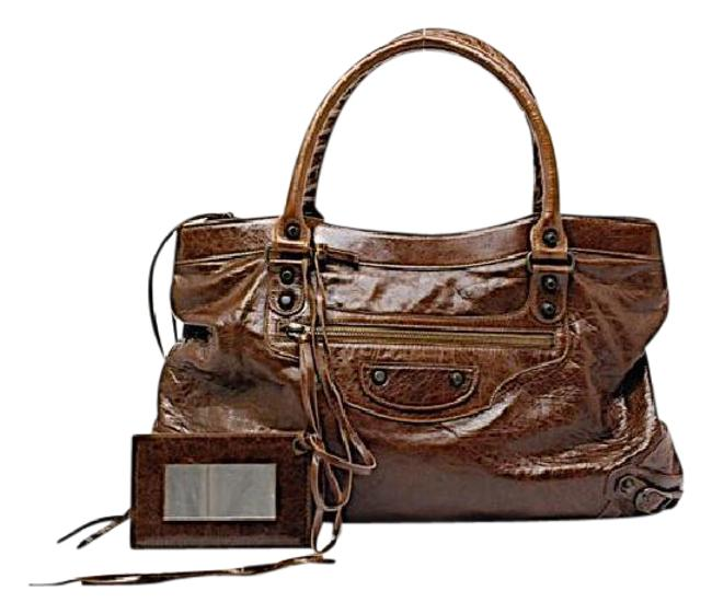 Item - City Agneau Brown Lambskin Leather Tote