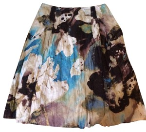 Lafayette 148 New York Abstract Floral Skirt Tan, Brown, Blue