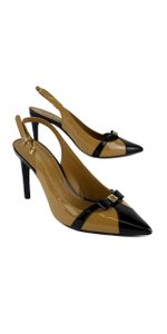 Tory Burch Beige & Black Patent Leather Samara Pumps