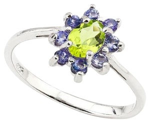 Other Sterling Silver 1.00ct Genuine Peridot and Tanzanite Ring Sz8