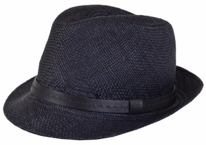 Gucci NEW Gucci Men's 368359 Blue Straw Leather Logo Panama Fedora Hat S