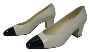 Chanel Cap Toe Patent Leather Cream and black Pumps
