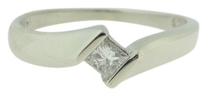 Other Antique Princess Cut Diamond By Pass Ring- 14k White Gold