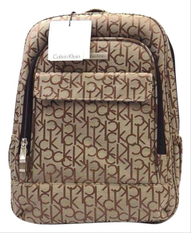 36014e7a5 Calvin Klein New Signature Logo Bookbag Brown Canvas Backpack - Tradesy