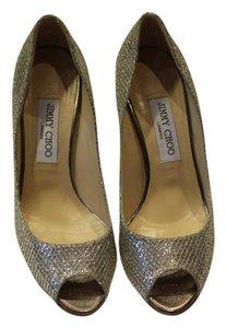 Jimmy Choo Glitter Leather Sparkle Peep Toe Silver Pumps