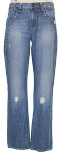 J.Crew Distressed Zip Up Cotton Boyfriend Cut Jeans-Distressed