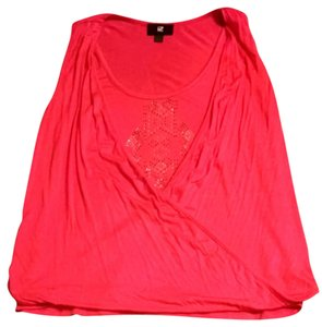 IZ Byer California Coral Bling Wrap Front Top Bright Coral
