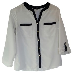 Elementz Button Down Shirt White and Black
