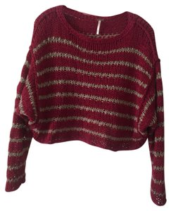 Free People Seethrough Cropped Stripped Oversized Sweater