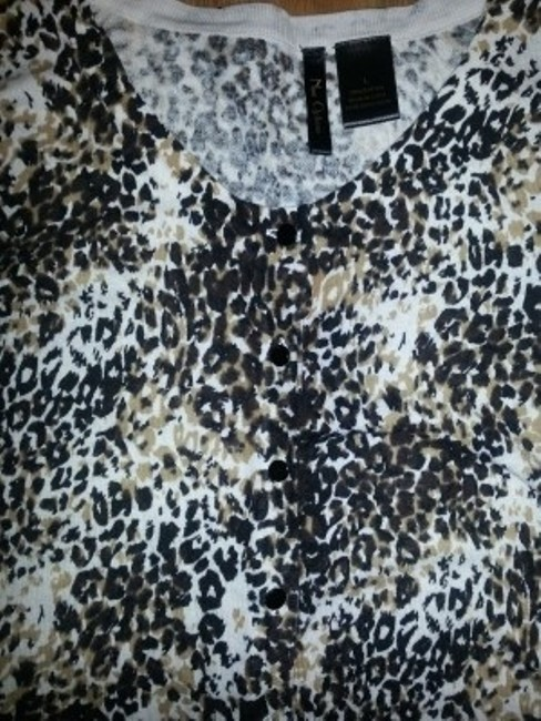 Nue by Shani Animal Print Cotton Button Down Like New Sweater