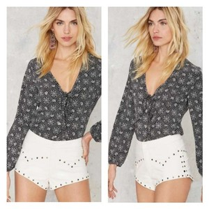 One Teaspoon Modern Love Studded Leather Mini/Short Shorts