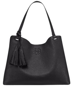 Tory Burch Leather Brown Tote in Black