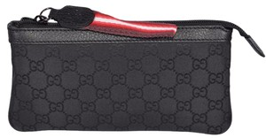 Gucci New Gucci Black Nylon GG Guccissima Zip Top Cosmetic Case Makeup Bag