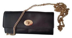 Coach F53890 Smith Leather Turnlock Slim Chain Black Wallet/Clutch