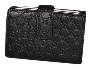 Gucci New Gucci Black Microguccissima Leather Card Holder