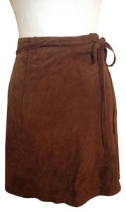 Miu Miu Suede Wrap Wraparound Made In Italy Mini Skirt Brown