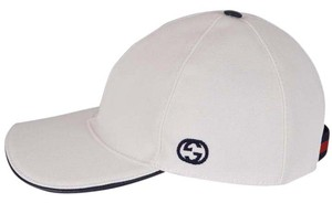 Gucci NEW Gucci Men's 387554 White Canvas Interlocking GG Web Baseball Hat