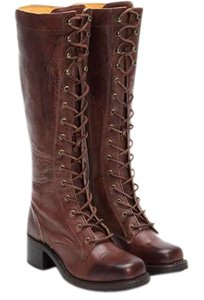 Frye Tall Lace Up Campus Lug Walnut Boots