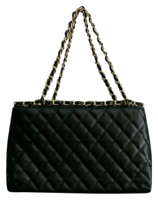 Item - Gold Chain Coco Quilted Purse Tote Black Faux Lether Shoulder Bag