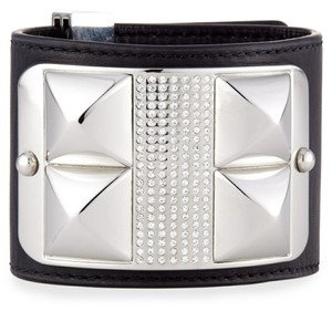 """Rebecca Minkoff Rebecca Minoff Studded Pave Bracelet. A tough chic leather cuff leather darling studs and sparkle pave stones. Texture details. Black and silver. Length adjusts 6.5"""" to 7.5"""""""