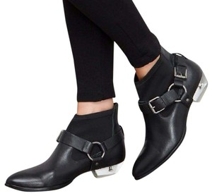 Matisse Black Leather Neoprene Lucite Heel Black/Silver Boots