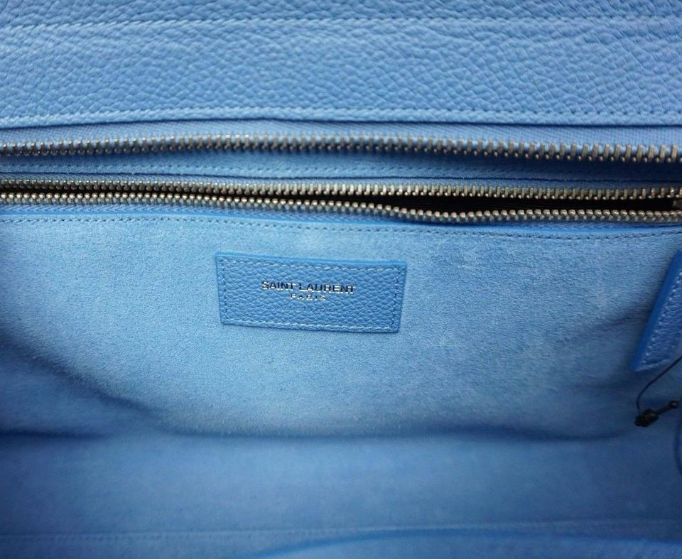 751f89a6c2 Saint Laurent Cabas Rive Gauche Small Grained Light Blue Leather Satchel