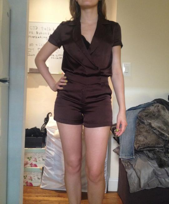 Love Sexy Romper Silky Onepiece Cuffed Shorts chocolate