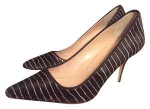 J.Crew Stiletto Calf Hair Black And Ivory Striped Multi Pumps