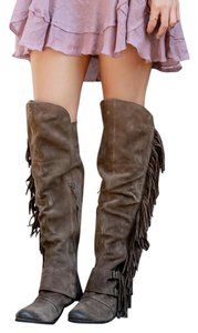 Naughty Monkey Over The Knee Suede Fringed Black Boots