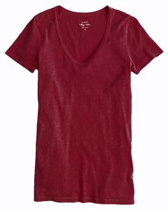 J.Crew Vintage Geniune Scoop Neck T Shirt Dark Wine