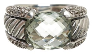 David Yurman David Yurman Sterling Silver Diamond & Prasiolite Ring (Size 6)