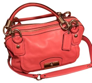 Coach Leather Spring Satchel in Coral