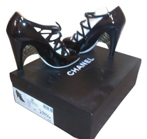 Chanel Patent Leather Strappy Couture Designer Heels Closed Toe Black Pumps