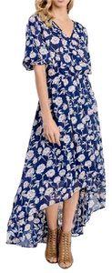 Blue Maxi Dress by Southern Girl Fashion Maxi Floral Long Draped Overlay Print Bohemian Festival