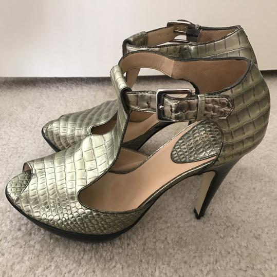 Cole Haan Heels Alligator Sandal Gold Platforms