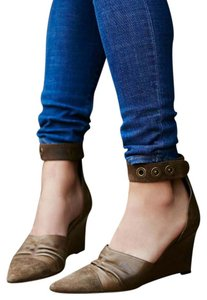 Free People Heels Ankle Strap Leather Brown Wedges