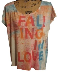 Hang Ten #loose Fit #asymmetrical Hem #paint Splatter #cap Sleeves T Shirt Multi-colored